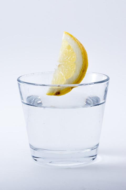 Glas Wasser mit einer Zitronenscheibe